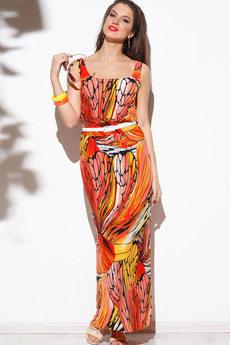 Длинное летнее платье на бретелях Angela Ricci со скидкой