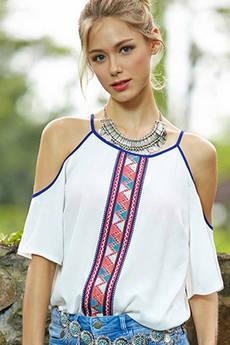 Блуза из полиэстера с открытыми плечами Kokette со скидкой