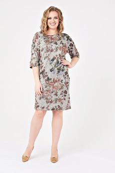 Серое трикотажное платье с цветами Carlo Bottichelli со скидкой
